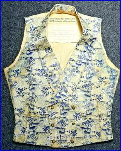 1800s Antique WAISTCOAT VEST WESKIT JAPONISME Pattern SILK BROCADE 19th C VTG