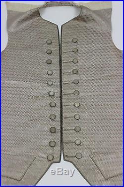 18th Century Light Purple Silk Waistcoat Front with Metallic Thread Trim