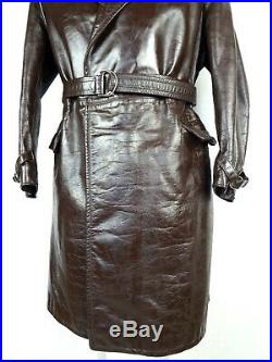 1940 Horsehide German Leather Coat M Vintage Aviator Military Trench Jacket WW2