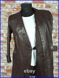 1940's VINTAGE German Leather Coat MEDIUM Brown Goatskin WW2 RARE