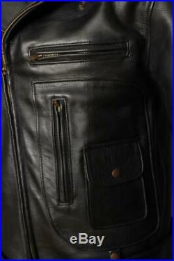 1940s Style D-Pocket Motorcycle Leather Jacket Medium