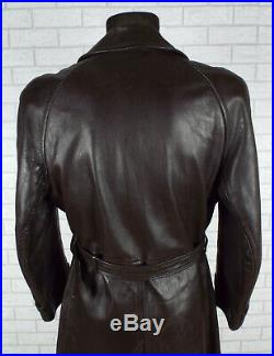 1950's VINTAGE LEATHER TRENCH COAT L BROWN GOATSKIN OVERCOAT
