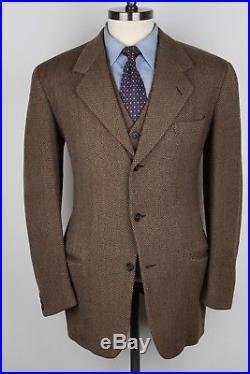 1950s Macneil & Moore Rustic Brown TWEED 3 Piece 40 R SUIT Vest Pants Jacket