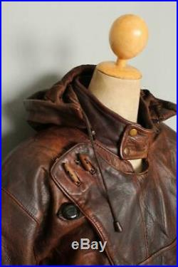 1950s Style SWEDISH Military TANKER Dispatch Leather Jacket Large