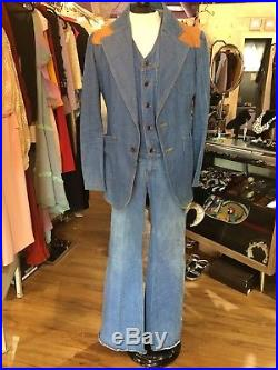 1970's Vintage Brittania Mens Bell Bottom Jeans And Jacket