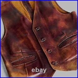 1970s Oiled Leather Western Biker Hippie Vest 38 Chest Vintage Old Distressed