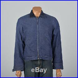 37R 1960s Mens Denim Blanket Lined Jacket Workwear Chore Coat Work Wear 60s VTG