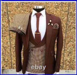 3Pieces Check Pants Jacket Blazer Coat Vest Men Suits Wedding Tuxedos Groomsman