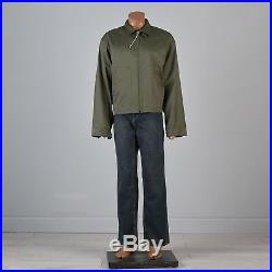 3XL 1950s Mens NOS Olive Green Jacket Lightweight Windbreaker Mid Century 50s