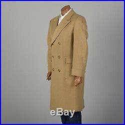 40 M 1970s Mens Camel Hair Coat Double Breasted Vented Back Overcoat 70s VTG