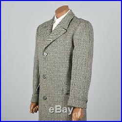 41R 1950s Mens Tweed Coat Wool Winter Overcoat Rockabilly Midcentury 50s VTG