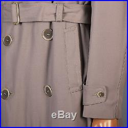 42 Large Vintage 40s 50s 1950s 1940s Taupe Gabardine Overcoat Belted Trench Coat