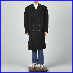 44 Mens Black Mohair Overcoat Winter Coat Double Breasted Wide Lapels 1940s VTG