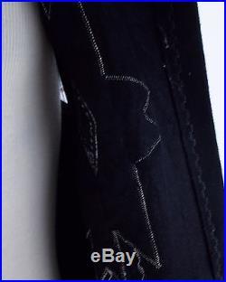 50s VINTAGE TRIBAL SOUTHWEST WOOL BLACK INDIAN PATTERN HAND MADE VEST LARGE XL