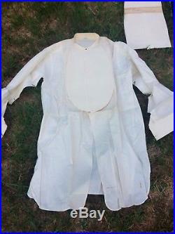 6 Edwardian 1910s Men's Shirt Vest Scarf Cotton Henley Style White 15 1/2 33