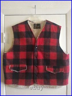 60s 70s Vintage wrangler sherpa vest DENIM LEATHER WOOL PLAID LOT OF 7 MENS XL