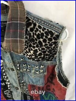 Actual Vintage Early 2000s Studded Denim Punk Vest scene Battle casualties small