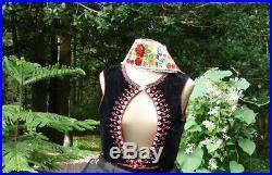 Antique 1912 Czech Moravian Kroj Embroidery Men Velvet Vest Boho Peasant Ethnic