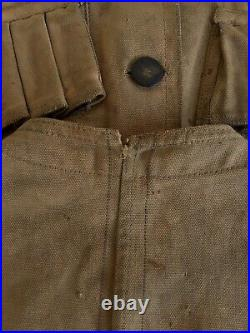 Antique 1920s Duck Cloth Canvas Hunting Vest Unusual Buttons Selvedge