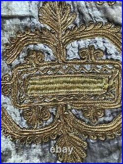 Antique Afghanistan mens or boys hand emb. Gold metallic & lavender velvet vest