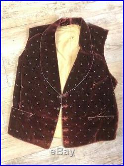 Antique C 1850's Victorian Men's Red/ Wine Velvet Embroidered Waistcoat Vest