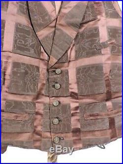 Antique CIVIL War Era Satin & Watered Moire Mens Waist Coat