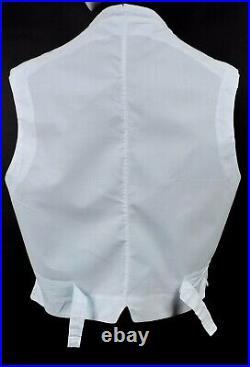 Antique Edwardian Mens Pinstriped Waist Coat / Vest W Stone Buttons