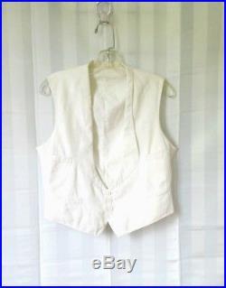 Antique Edwardian Mens White Ivory Vest 1910s 1900s Waistcoat 40 Vintage Formal