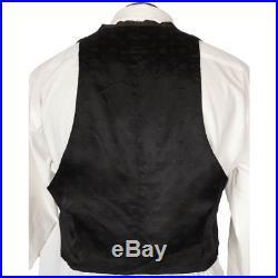 Antique Mens Vest Edwardian Era Black Evening Waistcoat circa 1910 Size M
