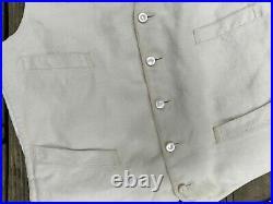 Antique Victorian Edwardian Textured Cotton Waist Coat Vest s-m