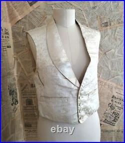 Antique Victorian gents silk waistcoat, ivory floral silk