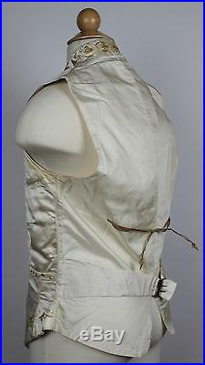 Antique Waistcoat Antique Vest Silk Wedding with Embroidery 1840 to 1850