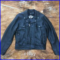 Authentic Harley Davidson Vintage Motor Clothes Men's Black XL Leather Jacket