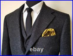 Black Men Suits Wool Blend Notch Lapel Formal Business Tuxedos Blazer Pants