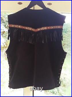 Black Native American Vintage Waistcoat Western Leather Jacket Coat Fringe