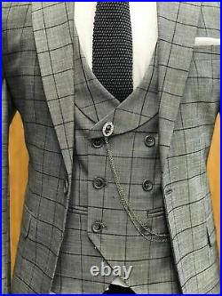 Blue Plaid Men Suits Wedding 3 Pieces Slim Fit Business Tuxedos 1Button Groom