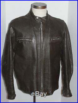 CLASSIC VTG 1960s-70s BEAU BREED CAFE RACER BROWN LEATHER MOTORCYCLE JACKET! 44