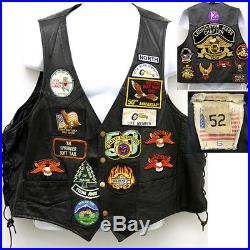 Classic 70's Vintage Biker Leather Vest Motorcycle Harley Patches GREAT SHAPE