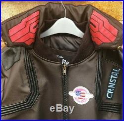 Cyberpunk 2077 Costume Jacket Mens Brown Leather Embroidery Coat / XS-5XL Custom