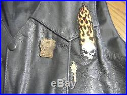 Cycle Leather Vintage Motorcycle Vest with 17 Patches, 9 Pins, Harley Davidson