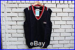 Deadstock FILA BJORN BORG Original Wool Sweater Vest Size 42 Made in Italy VTG