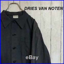 Dries Van Noten Black Long Coat Men's Large Size Spring Button Vintage Clothing