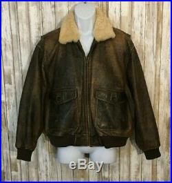 Eddie Bauer USAF B-3 Style Leather Flight Jacket Shearling Bomber Aviator Size M