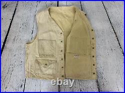 Filson 40s Vintage Men's Tan Tin Cloth Utility Hunting Vest Workwear Sz M