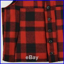 Filson Plaid Mackinaw Wool Hunting Cruiser Waistcoat Vest Made in USA XL / XXL