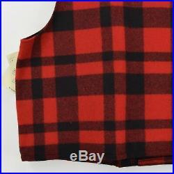 Filson Plaid Mackinaw Wool Hunting Cruiser Waistcoat Vest Made in USA XXL