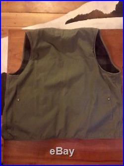 Filson Vintage Cruiser Vest Reversible Canvas/Wool Lined Grey Plaid