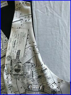Fornasetti Silk Vest Illustrated Black White