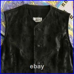 GIANNI VERSACE black leather & lace vest size IT 54 Style worn by Tupac Shakur