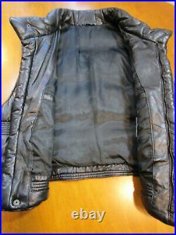 Gianni Versace V-2 Black Lambskin Leather Mens Puffer Vest Size Medium (50)
